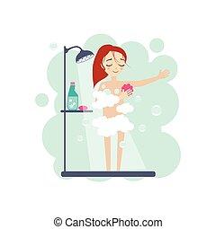 actividades, mujeres, toma, ducha, diario,  vector, Ilustración, rutina