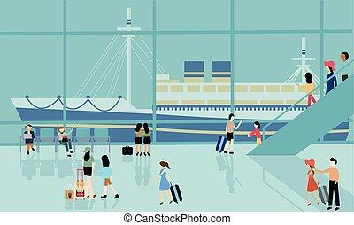 actividades, ocupado, gente, viaje, salida, mar, crucero, ir, llegar, puerto, barco