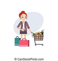 actividades, shopping., women., ilustración, vector, rutina diaria