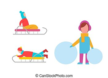 actividades, vector, childrens, ilustración, invierno
