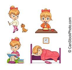 actividades, vector, colección, ilustración, niño