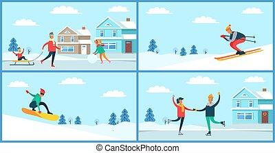 actividades, vector, deporte, invierno, ilustración