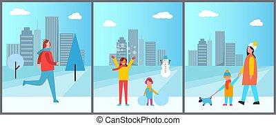 actividades, vector, invierno, ilustración, gente