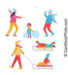 actividades, vector, invierno, ilustración, pueblos