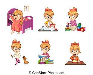 actividades, vector, niñas, colección, ilustración
