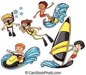actividades, watersport, el gozar, grupo, gente