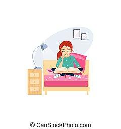 actividades, women., ilustración, reading., vector, rutina diaria