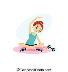 actividades, women., ilustración, vector, rutina diaria, dumbbells., deporte