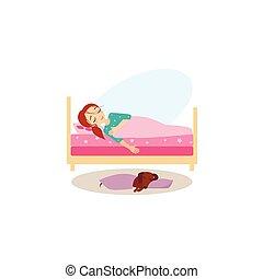 actividades, women., ilustración, sleeping., vector, rutina diaria