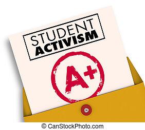 activisme, illustration, conscience, étudiant, social, rapporter carte, 3d