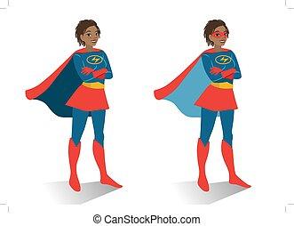 activismo, mujer, plano, disfraz, aislado, posición, ...