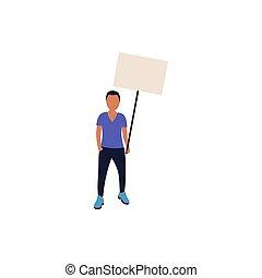 Demonstration - Activist holds blank banners. Demonstration...