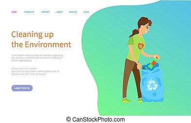 Activist Scavenging, Bag with Trash, Caring Vector