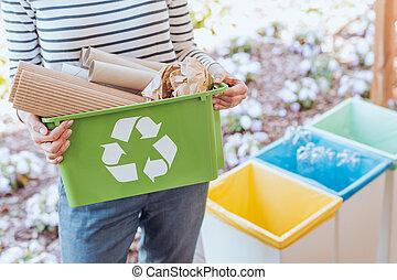 activista, clasificación, papel, desperdicio