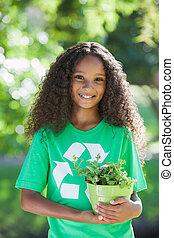 activista, joven, smilin, ambiental