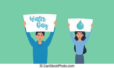 activists couple in campaign for water day animation ,4k video animated
