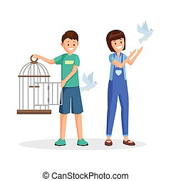 Activists setting birds free flat vector illustration. Cartoon kids, teenagers with open birdcage liberating pigeons. Animal rights activists, volunteers fighting for wild species natural habitat