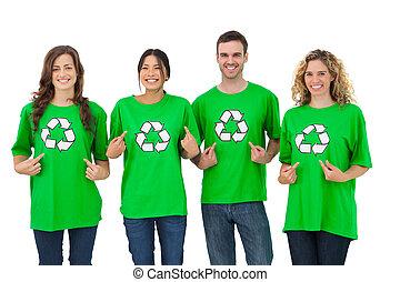 activists, tshirt, ambiant, leur, groupe, pointage
