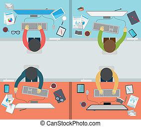 activité, bureau, plat, styl, ouvrier