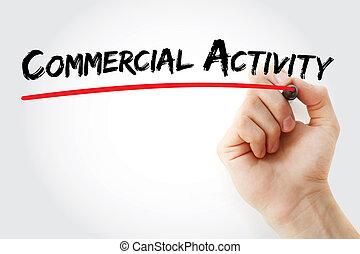 activité, commercial, écriture main