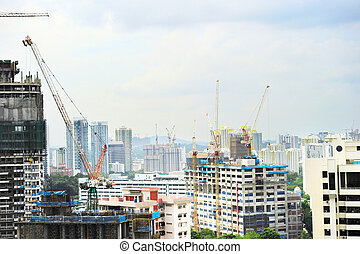 activité, construction, singapour
