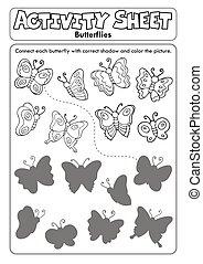 activité, feuille, 1, papillons