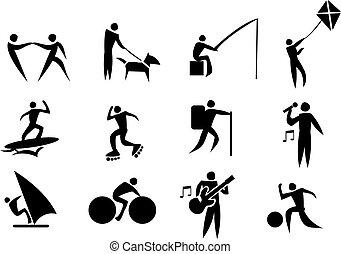 activité, icône, ensemble, loisir, vecteur