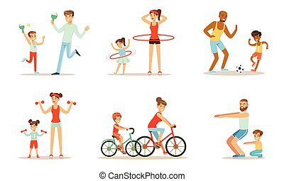 activité, illustration, exercices, vecteur, sports, parents, fond, blanc, isolé, ensemble, jointure, enfants