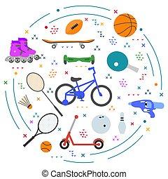 activité, jeu, sain, vecteur, enfant, style de vie, sport