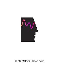 activité, mental, cerveau, profil, vague, personne