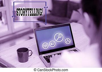 activité, projection, photo, storytelling., texte, conceptuel, les, écriture, histoires, signe, édition, public.