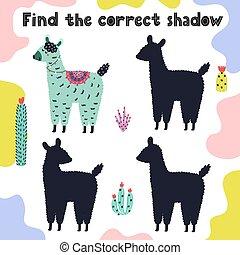 activité, rigolote, correct, page, ombre, trouver, lama