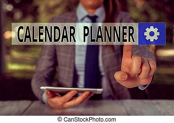 activités, écriture, complété, showcasing, devoir, femme, personne, calendrier, planner., main, mobile, photo, horaire, ou, projection, être, séance, conceptuel, téléphone., tenue, tâche, affaires ajournent