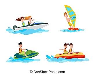 activités, été, illustration, eau, vecteur, mer