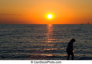 activités, coucher soleil