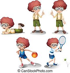 activités, différent, cinq, jeune garçon
