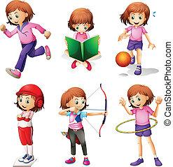 activités, différent, jeune fille