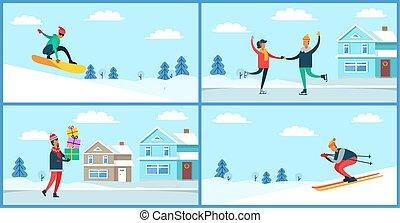 activités, ensemble, hiver, illustration, plaquettes, vecteur