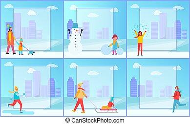 activités, ensemble, hiver, illustration, vecteur, affiches