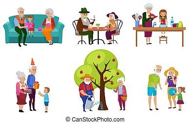 activités, ensemble, illustration., petits-enfants, gens, isolé, leur, vecteur, caractères, personne agee