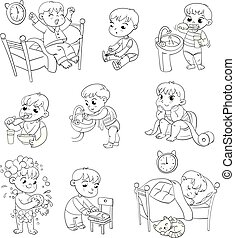 activités, ensemble, routine quotidienne, dessin animé, gosse