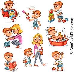 activités, ensemble, routine quotidienne, dessin animé,...