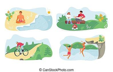 activités, extérieur, été, ensemble