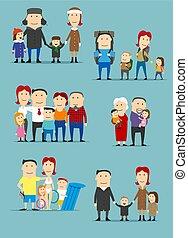 activités, famille, ensemble, dessin animé, caractères