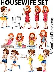 activités, femme foyer, différent