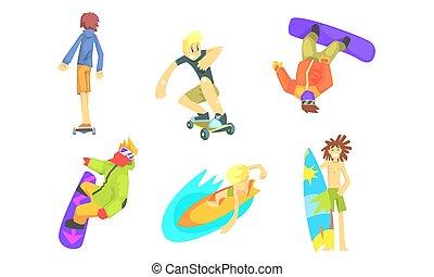 activités, gens, ensemble, dehors, illustration, vecteur, surfboarding, skateboarding, snowboarding