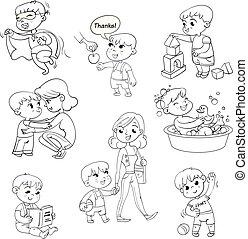 activités, gosse, routine, dessin animé, ensemble, quotidiennement