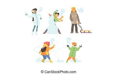 activités, gosses, hiver, bonhomme de neige, ensemble, neige, illustration, jouer, boules neige, vecteur, amusement, confection, apprécier, avoir