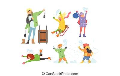 activités, gosses, hiver, sledding, ensemble, neige, illustration, enfants, boules neige, vecteur, amusement, apprécier, jouer, avoir