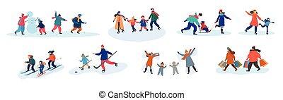 activités hiver, famille, différent, ensemble, huit